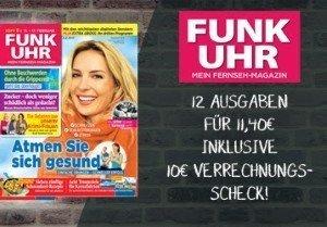 12 Ausgaben des Fernsehmagazins FUNK UHR für nur 1,40 EUR testen. Lesen Sie alles zum TV-Programm sowie über die Stars & Sternchen der Promilandschaft.