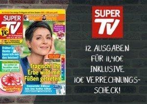 SUPER TV gibt es jetzt für kurze Zeit für effektiv 1,40 statt 11,40 EUR. Somit wissen Sie frühzeitig über das TV-Programm Bescheid & sparen Zeit.