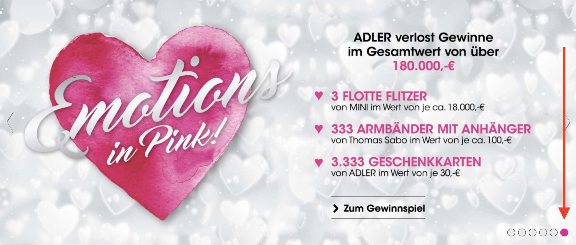 """Das Modehaus Adler verlost beim """"Emotions in Pink"""" Gewinnspiel 3 Mini Cooper und viele weitere tolle Preise. Das Beste: Jeder gewinnt!"""