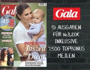 Lesen Sie 51 Ausgaben Gala und erhalten Sie 7.500 Topbonus Meilen von Airberlin in Höhe eines Prämienfluges innerhalb Deutschlands.