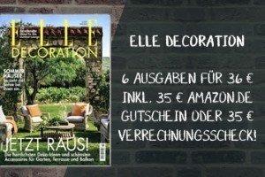 Aktuell können Sie 6 Ausgaben des Magazins ELLE Decoration für effektiv 1 Euro anfordern - das Angebot ist begrenzt, zögern Sie nicht zu lange!
