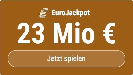 Im EuroJackpot werden 23 Millionen EUR ausgespielt. Bei Tipp24 erhalten Neukunden10 EUR für ihren ersten Tippschein geschenkt. MITMACHEN!