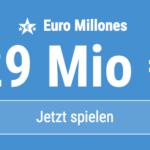 HEUTE 29 Mio EUR-Jackpot knacken mit 6 EUR Aktionsrabatt bei Euro Millones!