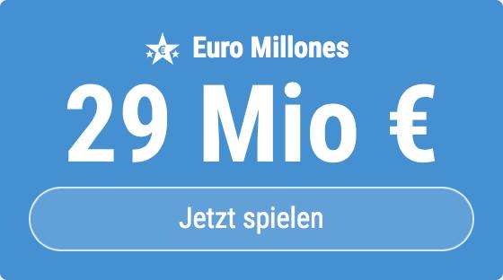 Jackpot knacken bei Euro Millones: Ausgespielt werden sagenhafte 29 Mio EUR, und bei uns gibt es ebenso sagenhafte 6 EUR Aktionsrabatt zum Mitspielen.