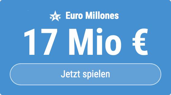 Jackpot knacken bei Euro Millones: Ausgespielt werden sagenhafte 17 Mio EUR, und bei uns gibt es 5 EUR Aktionsrabatt zum Mitspielen.