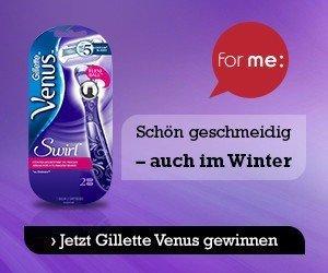 Beim for me Gewinnspiel bekommen 20 Gewinner jetzt die Chance sich von dem einzigartigenGillette Venus Swirl Rasierer zu überzeugen.