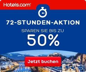 Sparen Sie bis zu 50 Prozent bei Ihrer nächsten Buchung auf Hotels.com, aber nur beim 72 Stunden Sale. Jetzt Angebote entdecken und günstig buchen!