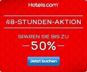 Jetzt findet wieder der 48 Stunden Sale bei Hotels.com statt - buchen Sie Hotels weltweit mit bis zu 50 Prozent Rabatt. Das Angebot gilt nur für 2 Tage!