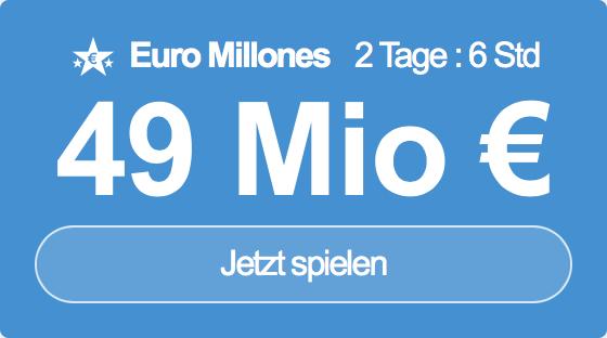 Jackpot knacken bei Euro Millones: Ausgespielt werden sagenhafte 49 Mio EUR, und bei uns gibt es ebenso sagenhafte 6 EUR Aktionsrabatt zum Mitspielen.