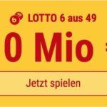Am Mittwoch 10 Mio EUR-Jackpot knacken im Lotto 6 aus 49: 5 Felder KOSTENLOS!