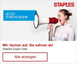 Jetzt die aktuellen Staples Gutschein Codes entdecken und bei Ihrem Einkauf von Büro- & Schulbedarf bares Geld sparen - einfach den Code eingeben & sparen!