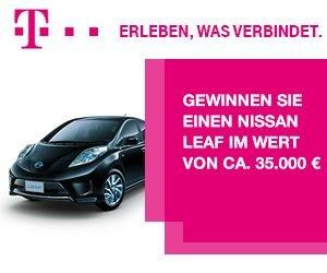 Nissan Leaf gewinnen: Sichern Sie sich jetzt beim Telekom Gewinnspiel einen nagelneuen Nissan Leaf im Wert von ca. 35.000 EUR! Wir wünschen gute Fahrt mit diesem Top-Elektroauto.