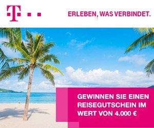 Erfüllen Sie sich jetzt Ihre Urlaubs-Träume, und gewinnen Sie mit etwas Glück beim Telekom Gewinnspiel einen Reise-Gutschein im Wert von 4.000 EUR!