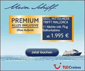 Entdecken Sie jetzt die TUI Cruises Wochen-Angebote und buchen Sie Ihre Kreuzfahrt zum kleinen Preis, natürlich All Inclusive und inkl. Programm!