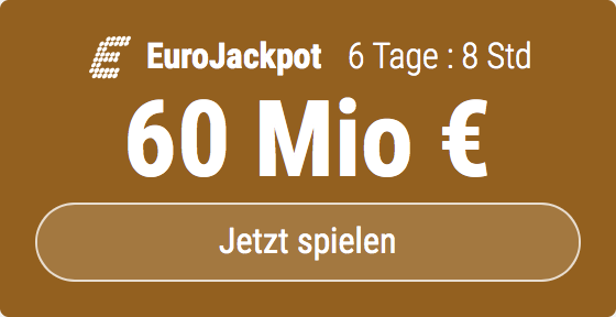 Im EuroJackpot werden 60 Millionen EUR ausgespielt. Bei Tipp24 erhalten Neukunden10 EUR für ihren ersten Tippschein geschenkt. JETZT MITMACHEN!