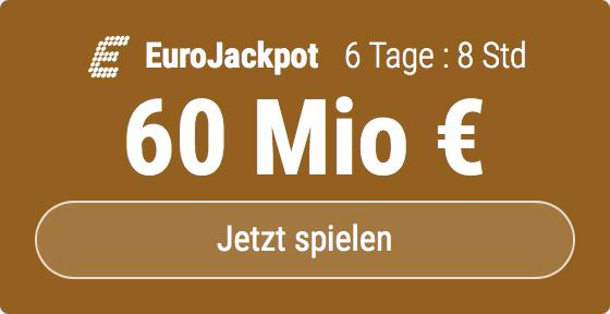 Im EuroJackpot werden 60 Millionen EUR ausgespielt. Bei Tipp24 erhalten Neukunden10 EUR für ihren ersten Tippschein geschenkt. JETZT MITMACHEN!