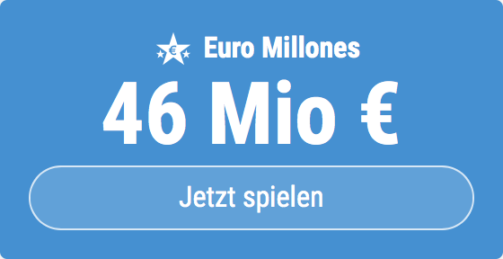 Jackpot knacken bei Euro Millones: Ausgespielt werden sagenhafte 46 Mio EUR, und bei uns gibt es ebenso sagenhafte 6 EUR Aktionsrabatt zum Mitspielen.