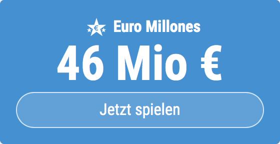 Jackpot knacken bei Euro Millones: Ausgespielt werden sagenhafte 46 Mio EUR, und bei uns gibt es ebenso sagenhafte 6 EUR Aktionsrabatt zum Mitspielen.