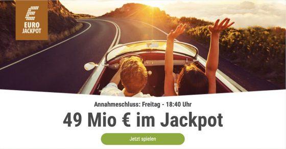 Im EuroJackpot werden 49 Millionen EUR ausgespielt. Bei Tipp24 erhalten Neukunden10 EUR für ihren ersten Tippschein geschenkt. JETZT MITMACHEN!