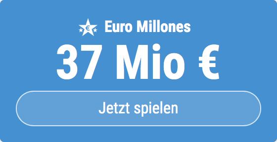 Jackpot knacken bei Euro Millones: Ausgespielt werden sagenhafte 37 Mio EUR, und bei uns gibt es ebenso sagenhafte 6 EUR Aktionsrabatt zum Mitspielen.