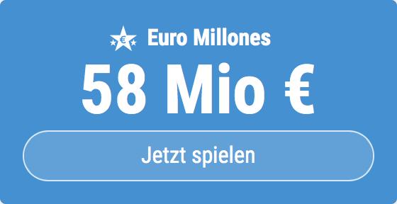 Jackpot knacken bei Euro Millones: Ausgespielt werden sagenhafte 58 Mio EUR, und bei uns gibt es ebenso sagenhafte 6 EUR Aktionsrabatt zum Mitspielen.