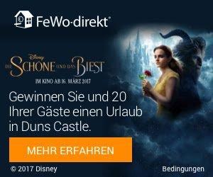 """Zum Kinostart von Disneys """"Die Schöne und das Biest"""" verlost FeWo einen Schloss-Urlaub in Schottland sowie weitere tolle FeWo-Aufenthalte."""