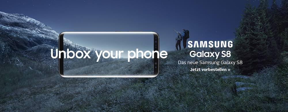 Samsung Galaxy S8-Vorverkauf bei OTTO: Wenn Sie bis zum 10.04.2017 bestellen, bekommen Sie das Smartphone am 12.04.2017 geliefert, 8 Tage vor Verkaufsstart!