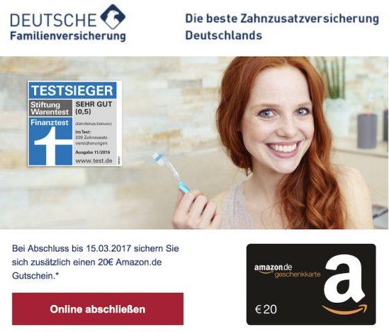 Bei Deutsche Familienversicherung die Testsieger-Zahnzusatzversicherung DFV-ZahnSchutz Exklusiv abschließen und über 20 EUR Amazon-Gutschein freuen!