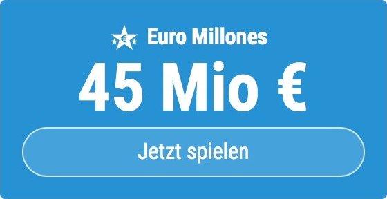 Jackpot knacken bei Euro Millones: Ausgespielt werden sagenhafte 45 Mio EUR, und bei uns gibt es ebenso sagenhafte 6 EUR Aktionsrabatt zum Mitspielen.
