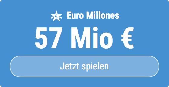 Jackpot knacken bei Euro Millones: Ausgespielt werden sagenhafte 57 Mio EUR, und bei uns spielen Tipp24-Nekunden mit nur 3 EUR Einsatz mit (statt mit 9 EUR)