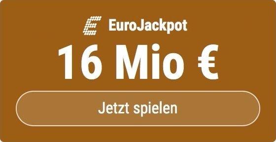 Im EuroJackpot werden 16 Millionen EUR ausgespielt. Bei Tipp24 erhalten Neukunden10 EUR für ihren ersten Tippschein geschenkt. JETZT MITMACHEN!