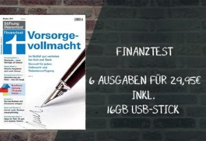 Miniabo Finanztest mit 6 Ausgaben für nur 29,95 EUR. Exklusiv dazu gibt es noch einen 16 GB USB-Stick gratis für Sie dazu.