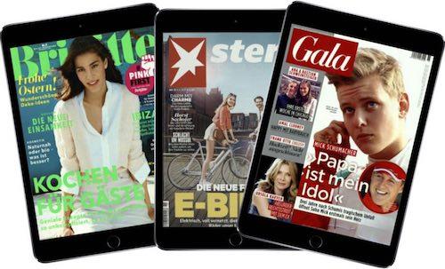Lesen Sie jetzt eine kostenlose Illustrierte nach Wahl. Für kurze Zeit gibt es die Zeitschriften Brigitte, Stern und Gala im Digital-Abo völlig KOSTENLOS.