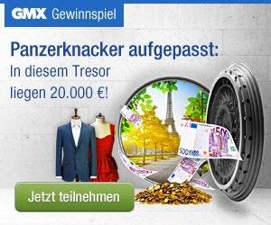 Beim GMX-Gewinnspiel 20.000 EUR bar GEWINNEN oder eine Smartwatch, 3.000 EUR Reise- oder Shopping-Geld, einen Dampfschrank LG Styler und vieles mehr.