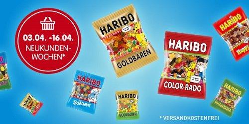 Bei der HARIBO-Neukundenaktion können Sie HARIBO-Produkte bestellen und erhalten die Lieferung - unabhängig vom Bestellwert - versandkostenfrei nach Hause.