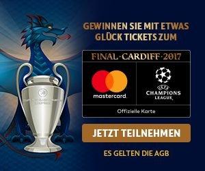 Gewinnen Sie jetzt mit Hotels.com - einer Marke von Expedia Inc. und MasterCard eine Reise zum UEFA Champions League Finale am 03.06.2017 in Cardiff.