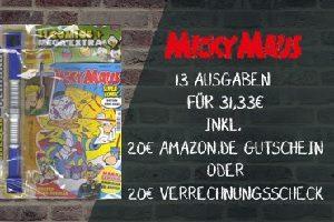 Jetzt Micky Maus abonnieren und 13 Ausgaben des Magazins für nur 11,33 statt 31,33 EUR erhalten. Lesen Sie das neuste aus Entenhausen zum Schnäppchenpreis.