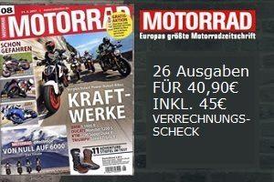 Für nur 40,90 statt 95,90 EUR, gibts das Motorrad Abo. Lesen Sie ausführliche Tests der Motorräder in Einzel-, Vergleichs- & Dauertests jetzt günstig.
