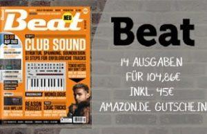 14 Ausgaben des Musik-Fachmagazin Beat erhalten Sie jetzt 45 EUR günstiger. Lesen Sie alles über aktuelle Trends der Musikbranche sowie fundierte Berichte.