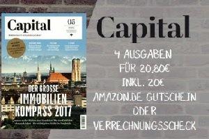 Capital im Miniabo (4 Ausgaben) gibt es jetzt für unter einem Euro. Sie zahlen für das Wirtschaftsmagazin somit pro Ausgabe nur 20 Cent!