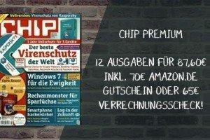 CHIP Premium mit exklusiven Beilagen im Jahres-Abo für effektiv 17,60 EUR insgesamt, statt regulär 87,60 EUR! Sparen Sie 70 EUR!