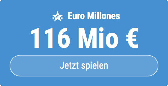 Jackpot knacken bei Euro Millones: Ausgespielt werden sagenhafte 116 Mio EUR, und bei uns spielen Tipp24-Nekunden mit nur 3 EUR Einsatz mit (statt mit 9 EUR)