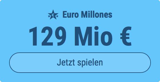 Jackpot knacken bei Euro Millones: Ausgespielt werden sagenhafte 129 Mio EUR, und bei uns spielen Tipp24-Nekunden mit nur 3 EUR Einsatz mit (statt mit 9 EUR)