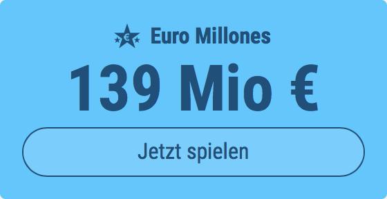 Jackpot knacken bei Euro Millones: Ausgespielt werden sagenhafte 139 Mio EUR, und bei uns spielen Tipp24-Nekunden mit nur 3 EUR Einsatz mit (statt mit 9 EUR)