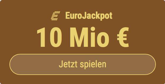 Im EuroJackpot werden 10 Millionen EUR ausgespielt. Bei Tipp24 zahlen Neukunden nur 2,50 EUR statt 12,50 EUR für ihren ersten Tippschein. JETZT MITMACHEN!