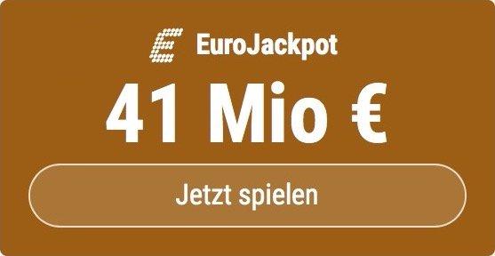 Im EuroJackpot werden 41 Millionen EUR ausgespielt. Bei Tipp24 zahlen Neukunden nur 2,50 EUR statt 12,50 EUR für ihren ersten Tippschein. JETZT MITMACHEN!