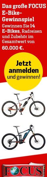 Beim Focus E-Bike Gewinnspiel können Sie jetzt Preise wie E-Bikes, Rad-Reisen u.v.m. im Gesamtwert von 60.000 EUR abräumen!