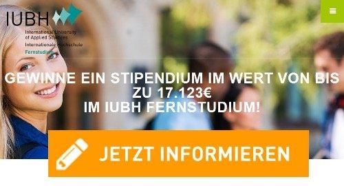 Beim IUBH Studium-Gewinnspiel können Sie als Hauptpreis ein Stipendium gewinnen im Wert von 17.123 EUR, und ALLE Teilnehmer gewinnen einen Sonderrabatt!