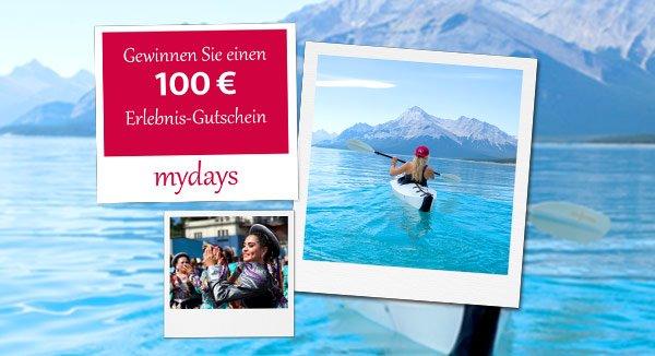 Nutzen Sie jetzt bei diesem Gewinnspiel die Chance, insgesamt 10 mydays Erlebnis-Gutscheineim Wert von je 100 EUR zu gewinnen! Viel Glück!
