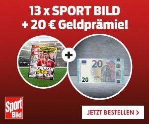 Jetzt zugreifen beim günstigen SportBILD-Abo! Erhalten Sie 13 Ausgaben des Sportmagazins für 16,60 EUR sowie eine 20 EUR-Geldprämie = 3,40 EUR Gewinn!